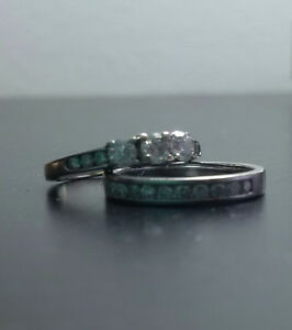 Diamond Engagement and Wedding Rings - White Gold - $675 OBO