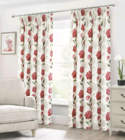 100% Cotton Floral Pencil Pleat Curtains
