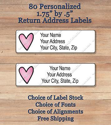 80 Personalized Printed Peel Stick Return Address Labels Pink Heart