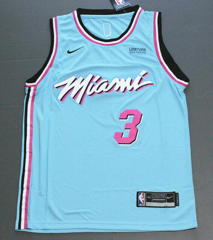 Dwyane Wade #3 Miami Heat Basketball Trikot Jersey City Edition Stitched Blau