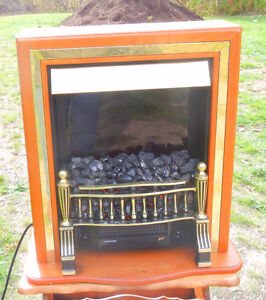 Beautiful cozy electric fireplace with fan and heater control