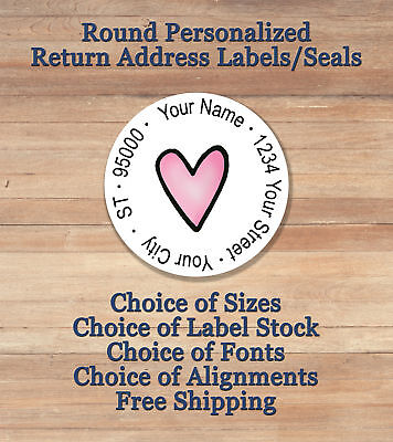 Pink Heart Personalized Printed Peel Stick Round Return Address Labels