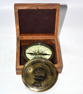 Leather Case Belt Vintage London 1885-100 Years Calendar Compass Comp