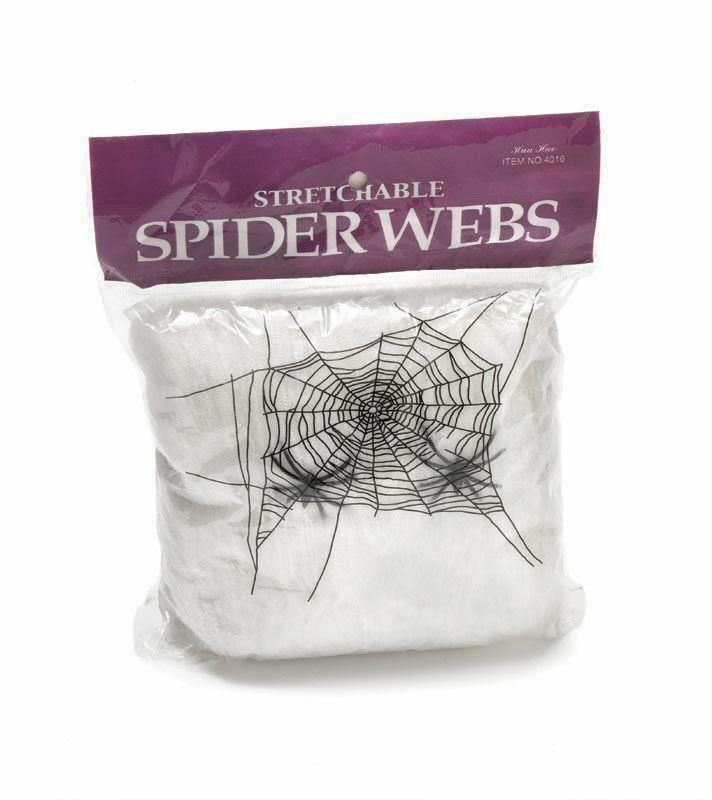 100pk of Halloween Spider Web with 4 Spider White Stretchable Decoration Cobweb
