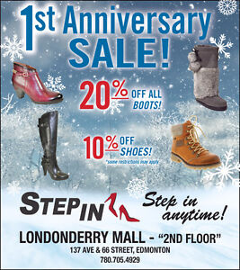 Anniversary Sale - 20% OFF ALL BOOTS AND 10% OFF SHOES Edmonton Edmonton Area image 1