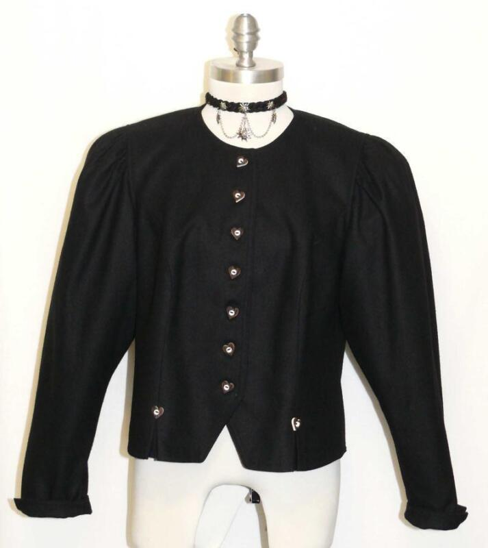"BLACK WOOL JACKET Austria Women SPORT Riding Western Dress Suit 44 10 M B40"""