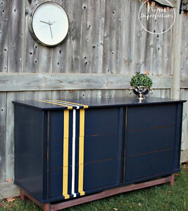 Restyled mid century dresser with vintage stripes