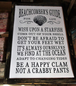 Beachcomber's Guide - Cottage Art - mounted ,ready to display