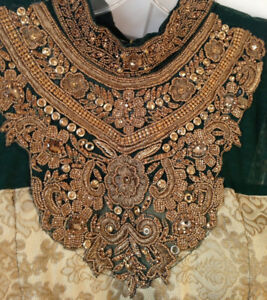 Emerald Green & Gold Embroidered Indian Dress