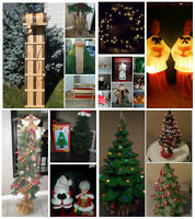Vintage Blow Molds, Wooden Sleds, Ceramic Christmas Trees