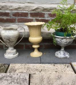 3 Metal Planters/Plant Pots/Urns-SET-$50- for the plant lover.