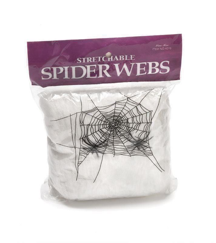 50pk of Halloween Spider Web with 4 Spider White Stretchable Decoration Cobweb
