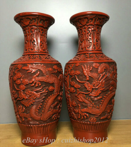 """10"""" Marked Old Chinese lacquerware Dynasty Palace Dragon Bottle Vase Pair"""