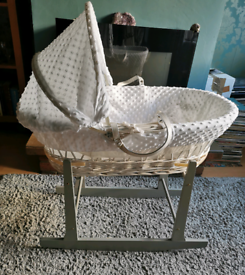 White Moses Basket with Grey Rocking Stand