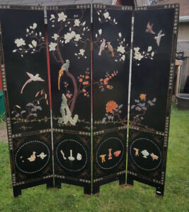 Chinese Lacquered & carved hard stone screen/ room divider