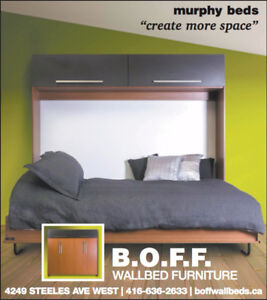 Horizontal Double murphy bed with top storage