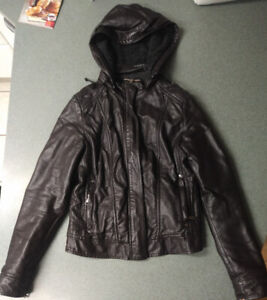 Small Leather Jacket with Hood
