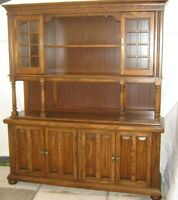"Oak Hutch & Buffet, Oak Table, Four Chairs and 18"" Leaf"