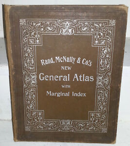c1898 RAND McNALLY GENERAL ATLAS Antique Book
