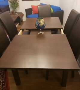 dinning tabale with 6 leather chairs