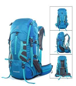 Neuf 50L+5L sac à dos de Escalade, Sac à Randonnée bleu