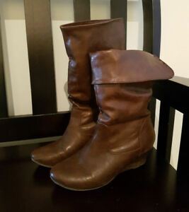 Brown leather short boots size 6 Call it spring