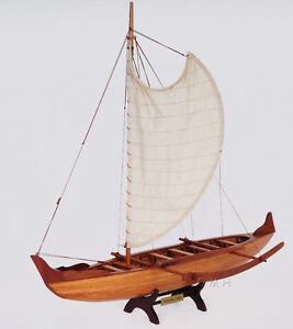 Hawaiian-Outrigger-Canoe-Wooden-Boat-Model-25-Traditional-Sailing-New