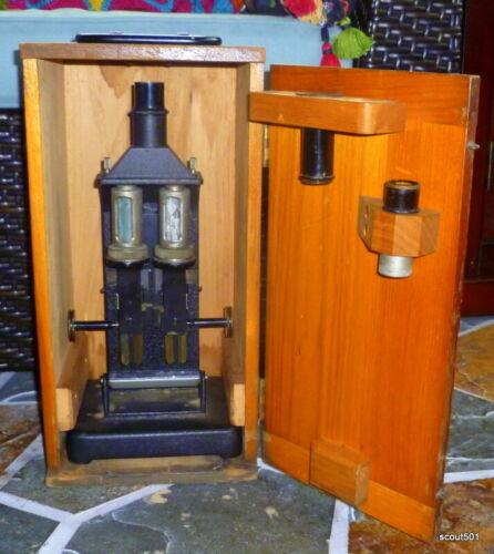 Antique Bausch & Lomb Co Microscope Colorimeter W Original Dovetailed Wood Case