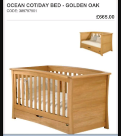 Mama's and Papa's Ocean Cot/Day Bed In Solid Oak With Extras