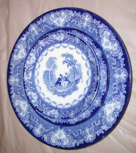 Flow Blue Doulton Burslem England Ironstone Watteau Dishes