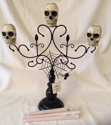 Halloween Skull Candelabra Large Metal Spider Web Prop Decor & Blood Candles 19