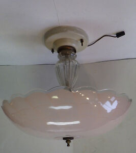 1950's Glass Ceiling Light Pale Pink Shade Clear Edge, Glass Ste