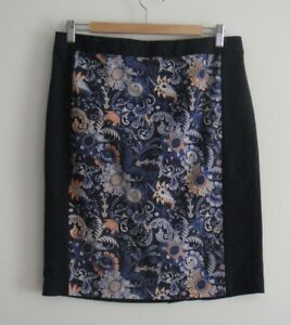 Club Monaco Navy with Floral Pattern Panel Skirt - Size 12