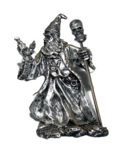 Wizard Skull Staff Dragon in Hand Statue