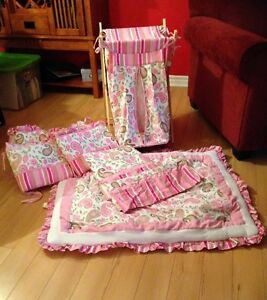 Baby Girls Crib set with matching valance