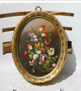 Vintage Framed Oil Painting Under Glass - Flowers in Vase -ITALY