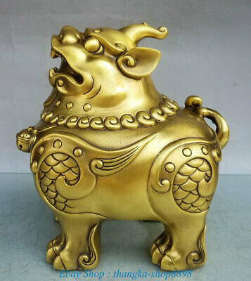 Chinese Pure Bronze Fengshui Dragon Pixiu Brave troops Fly Beast Sculpture