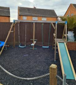 Garden swing and slide frame