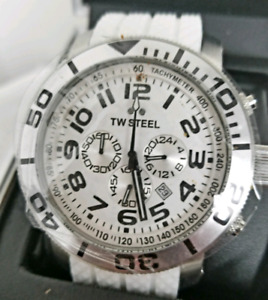 TW Steel Men's Watch Grandeur Chronograph  Strap White Dial.