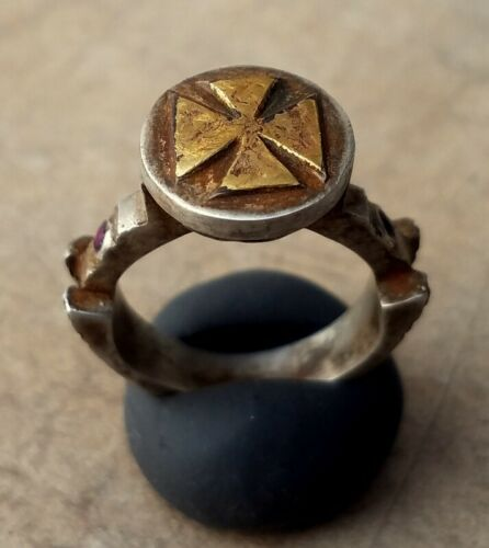 Medieval Crusaders EraTemplar Silver and gold ring Cross garnet stone 11-15th