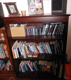Top quality wide dark wood heavy bookcase New Forest