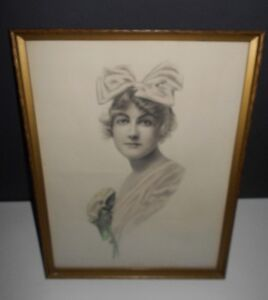 1912 PRINT OF YOUNG LADY