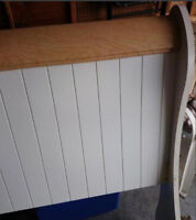 Double bed headboard  white with natural wood top
