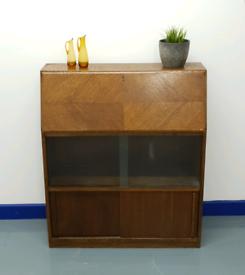Vintage Solid Oak Bureau & Bookcase
