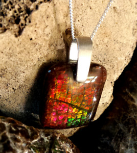 Fabulous Top Grade Ammolite Pendants Set In .925 Silver $99!