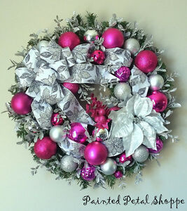 Silver & Pink Sparkle Christmas Wreath/ Fuchsia Holiday Wreath Belleville Belleville Area image 2