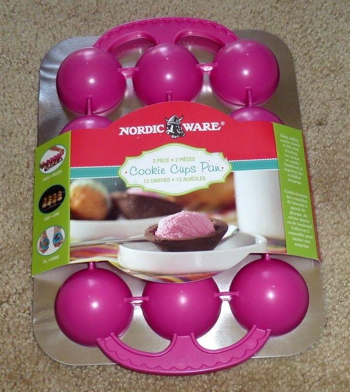 Nordic Ware Cookie Cups Pan 2 piece 12 cavities NIP