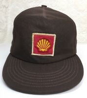 33369a1b37fb7 Vintage Shell Automotive Gas   Oil Station Brown Polyester Trucker Cap Hat