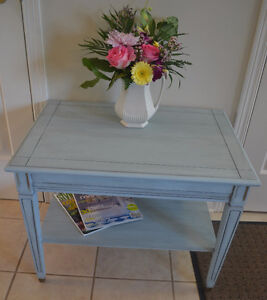 French Blue Coffee Table with Brass Accents