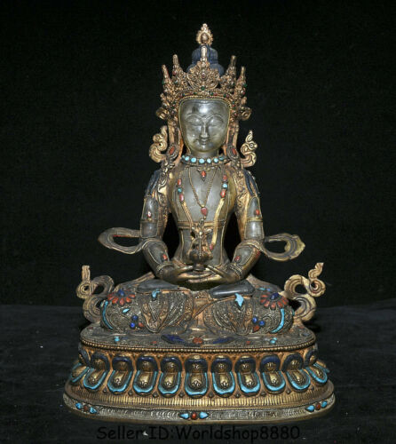 "12.8"" Tibet Bronze Gilt Crystal Inlay turquoise Amitayus longevity God Goddess"